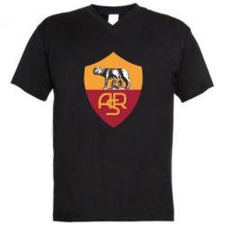 Мужская футболка  с V-образным вырезом FC Roma - FatLine
