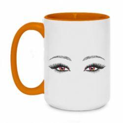 Кружка двоколірна 420ml Female vector eyes