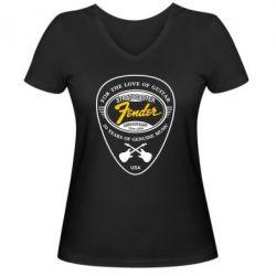 Женская футболка с V-образным вырезом Fender - FatLine