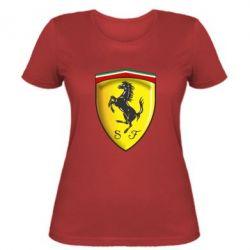 Женская футболка Ferrari 3D Logo - FatLine