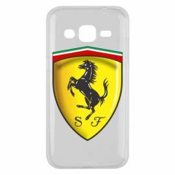 Чехол для Samsung J2 2015 Ferrari 3D Logo