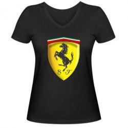 Женская футболка с V-образным вырезом Ferrari 3D Logo - FatLine