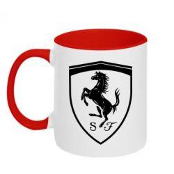 Кружка двоколірна 320ml Ferrari horse