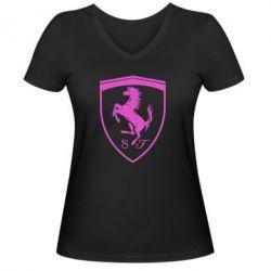 Жіноча футболка з V-подібним вирізом Ferrari horse