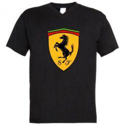 Мужская футболка  с V-образным вырезом Ferrari - FatLine