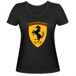 Женская футболка с V-образным вырезом Ferrari - FatLine