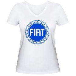 Женская футболка с V-образным вырезом Fiat logo - FatLine