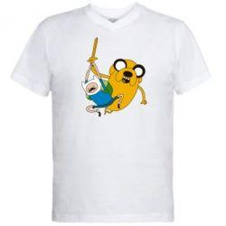 """Мужская футболка  с V-образным вырезом Фин и Джейк """"Атака"""" - FatLine"""