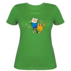Женская футболка Фин и Джейк танцуют 2