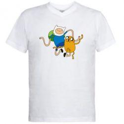 Мужская футболка  с V-образным вырезом Фин и Джейк танцуют 2 - FatLine