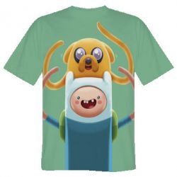 Мужская 3D футболка Finn and Jake Art - FatLine