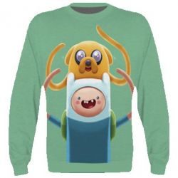 3D реглан (свитшот) Finn and Jake Art - FatLine