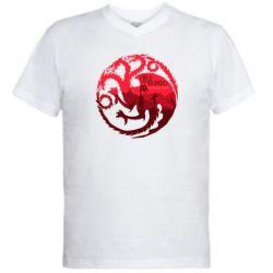 Мужская футболка  с V-образным вырезом Fire and Blood - FatLine