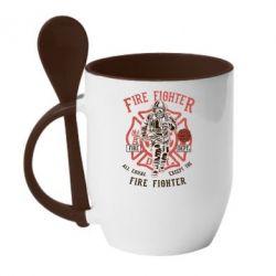Кружка з керамічною ложкою Fire Fighter