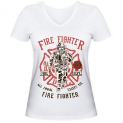 Жіноча футболка з V-подібним вирізом Fire Fighter