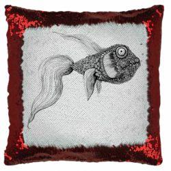 Подушка-хамелеон Fish consists of circle drawings