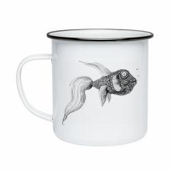 Кружка эмалированная Fish consists of circle drawings
