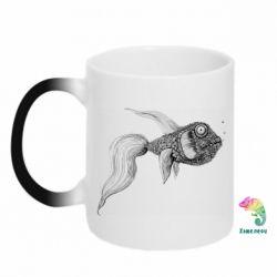 Кружка-хамелеон Fish consists of circle drawings
