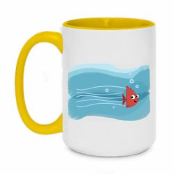Кружка двоколірна 420ml Fish swims in the water