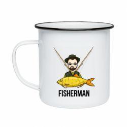 Кружка емальована Fisherman and fish