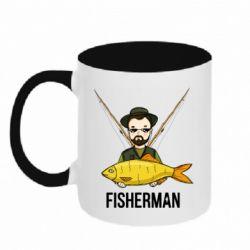 Кружка двоколірна 320ml Fisherman and fish