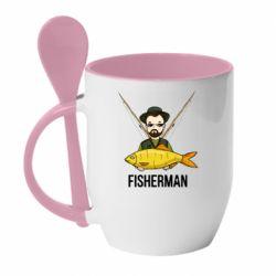 Кружка з керамічною ложкою Fisherman and fish
