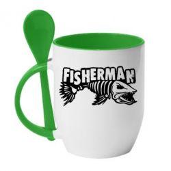 Кружка з керамічною ложкою Fisherman