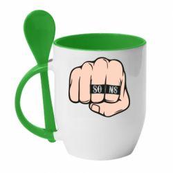 Кружка с керамической ложкой Fist with rings SONS