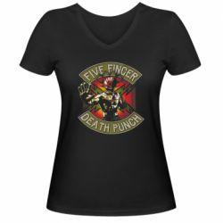 Женская футболка с V-образным вырезом Five finger death punch