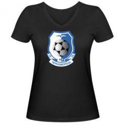 Женская футболка с V-образным вырезом ФК Черноморец Одесса - FatLine