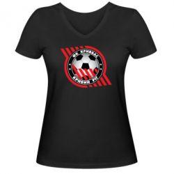 Женская футболка с V-образным вырезом ФК Кривбасс Кривой Рог - FatLine