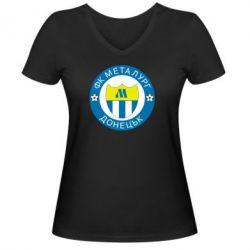 Женская футболка с V-образным вырезом ФК Металлург Донецк - FatLine