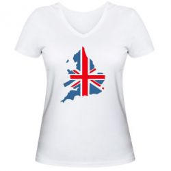 Женская футболка с V-образным вырезом Флаг Англии - FatLine