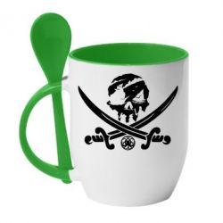 Кружка з керамічною ложкою Flag pirate
