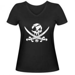 Жіноча футболка з V-подібним вирізом Flag pirate