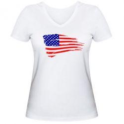 Женская футболка с V-образным вырезом Флаг США - FatLine