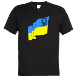 Мужская футболка  с V-образным вырезом Флаг Украины с Гербом - FatLine