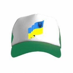 Детская кепка-тракер Флаг Украины с Гербом