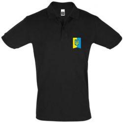 Мужская футболка поло Flag with the coat of arms of Ukraine