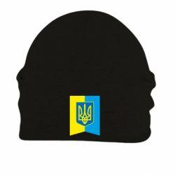 Шапка на флисе Flag with the coat of arms of Ukraine