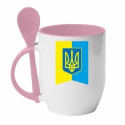 Кружка с керамической ложкой Flag with the coat of arms of Ukraine