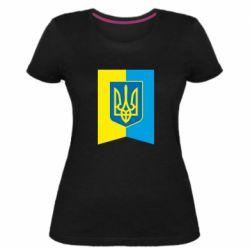 Женская стрейчевая футболка Flag with the coat of arms of Ukraine