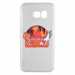 Чехол для Samsung S6 EDGE Flamingo and unicorn