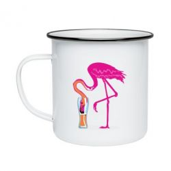 Кружка емальована Flamingo drinks beer