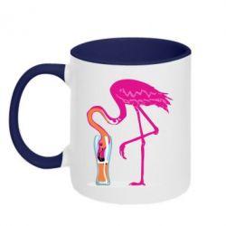 Кружка двоколірна 320ml Flamingo drinks beer