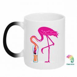 Кружка-хамелеон Flamingo drinks beer