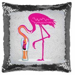 Подушка-хамелеон Flamingo drinks beer