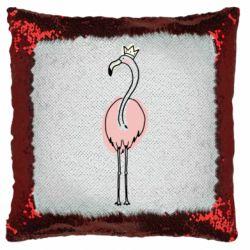 Подушка-хамелеон Flamingo in the crown
