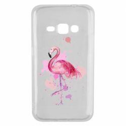 Чехол для Samsung J1 2016 Flamingo pink and spray