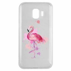 Чехол для Samsung J2 2018 Flamingo pink and spray